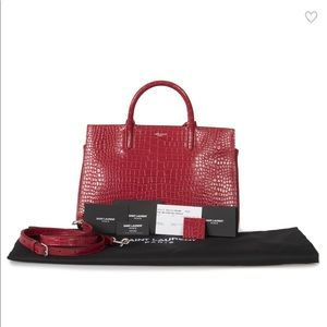 NWT Yves Saint Laurent Cabas Rive Gauche Red Tote